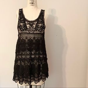 Free People Macrame Lace Tiered Mini Dress